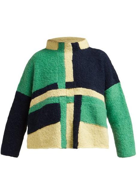 Eckhaus Latta - Uni Weave Panelled Wool Blend Sweater - Womens - Green Multi