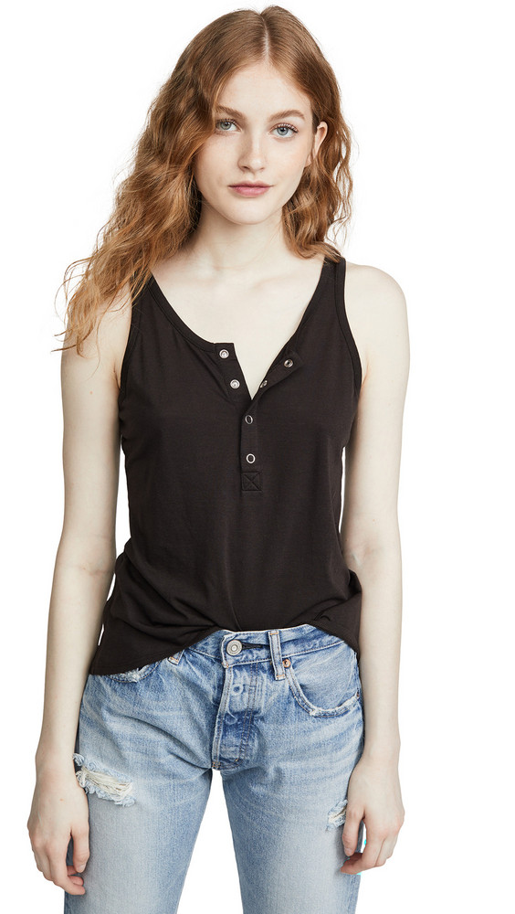 Chaser Vintage Jersey Snap Front High Low Henley Baby Tank in black