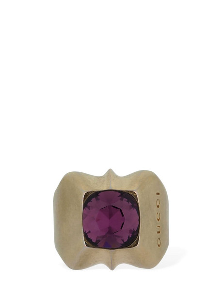 GUCCI Studs Motif Thick Pinkie Ring in gold / purple