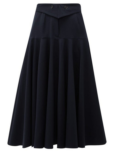 Palmer/harding Palmer//harding - Fused Waist Wool Blend Midi Skirt - Womens - Navy