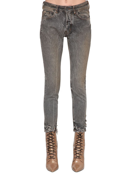 FILLES A PAPA Slim Cotton Denim Jeans in grey