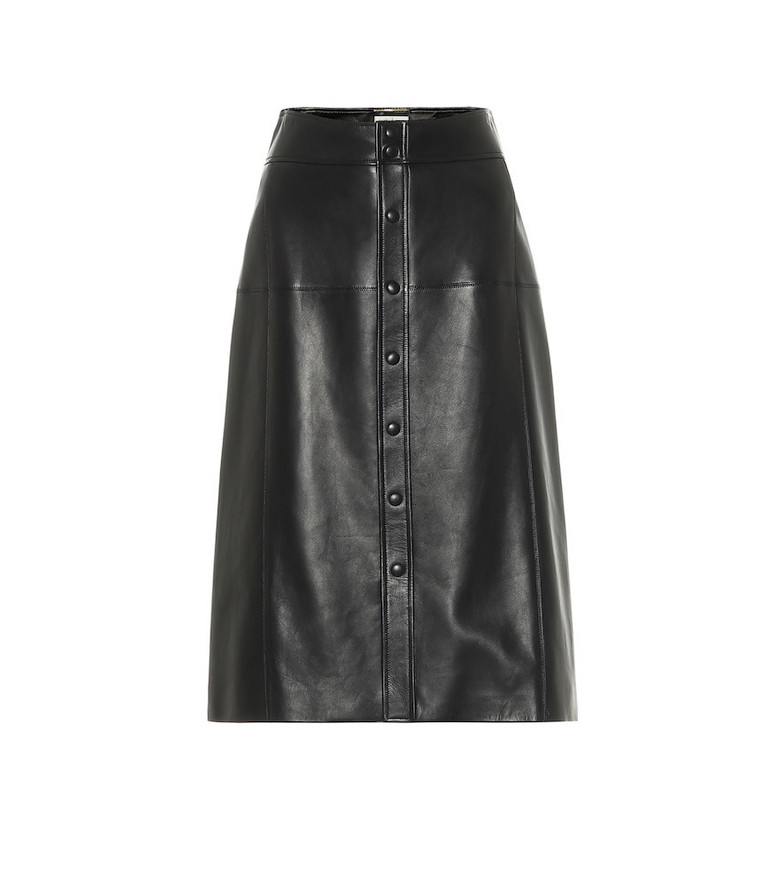 Saint Laurent Leather midi skirt in black