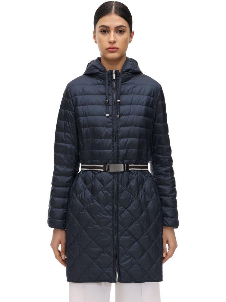 MAX MARA 'S Hooded Waterproof Nylon Down Coat in blue