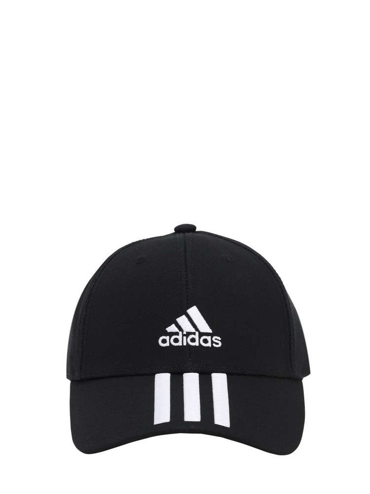 ADIDAS PERFORMANCE 3 Stripes Cotton Baseball Hat in black