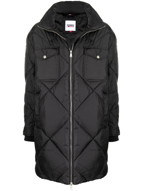 Tommy Hilfiger diamond quilted oversize coat in black