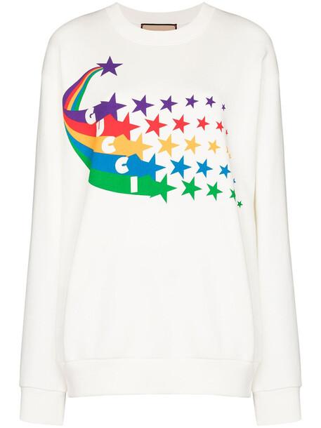 Gucci GCCI TOP TEE SWTSHRT CN LS STAR LOGO PRN - White