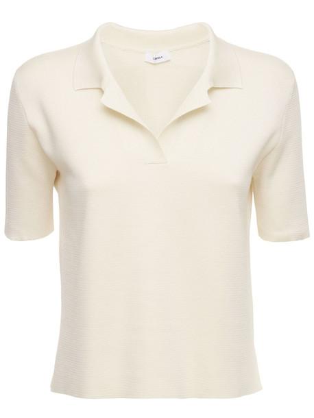 CASASOLA Silk & Cotton Polo Shirt in white
