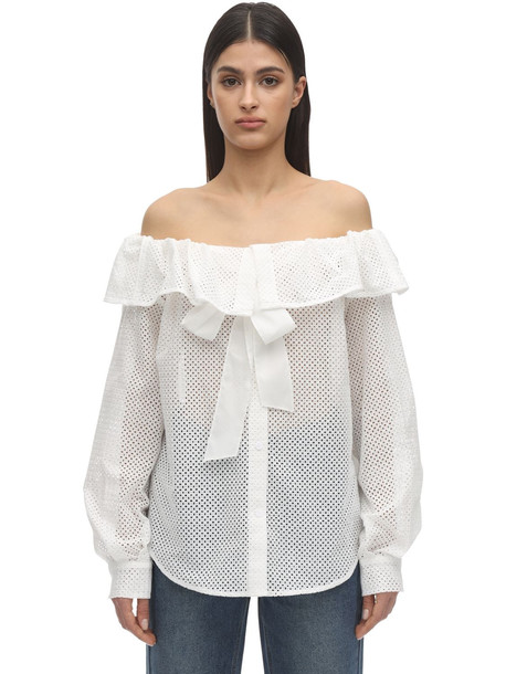 PUSHBUTTON Off-the-shoulder Cotton Shirt in white