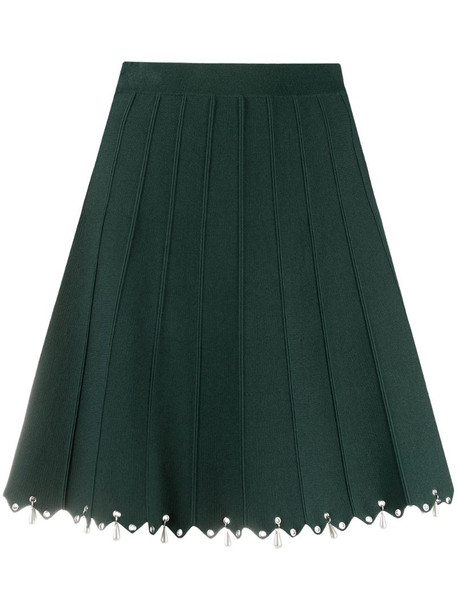 Sandro Paris bead-embellished A-line skirt in green