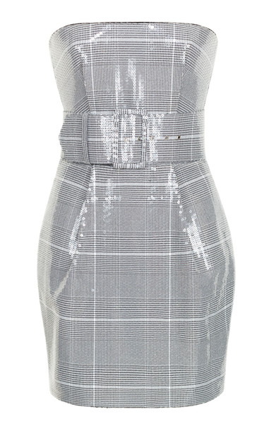 Rasario Strapless Sequined Plaid Dress in black / white