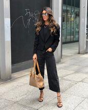jeans,black jeans,wide-leg pants,black sandals,black blazer,black top,bag