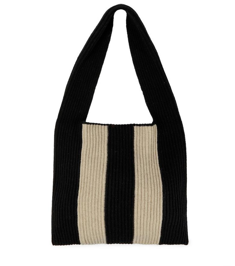 JOSEPH Striped ribbed-knit wool shoulder bag