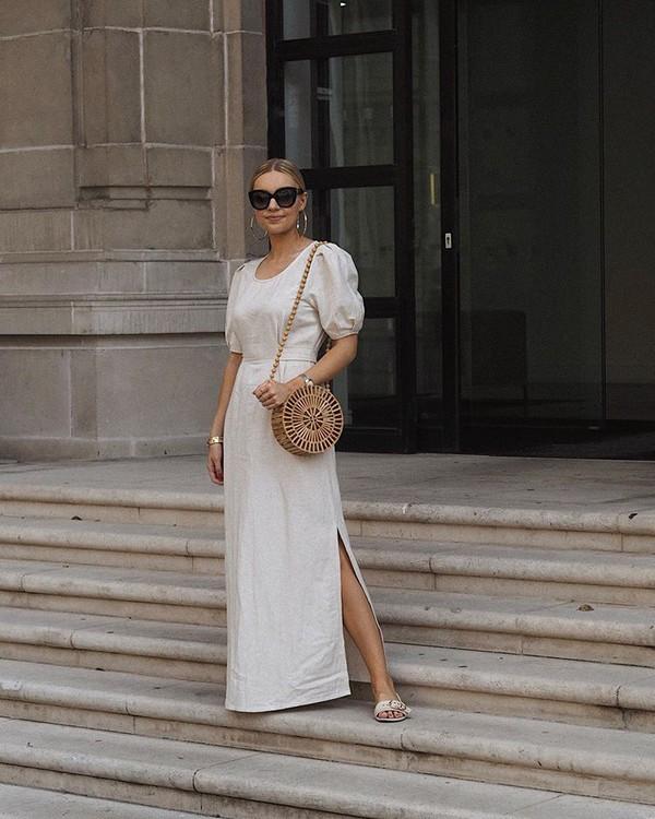 dress maxi dress slit dress short sleeve dress sandal heels round bag wood