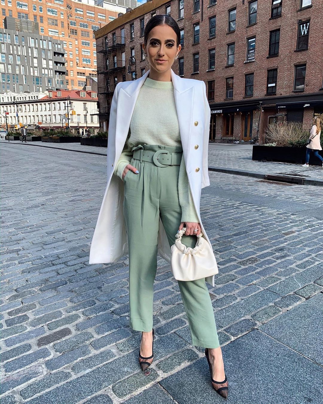 shoes pumps high waisted pants white bag coat sweater