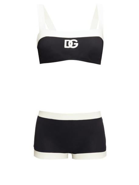 Dolce & Gabbana - Two-tone Logo-print Bikini - Womens - Black