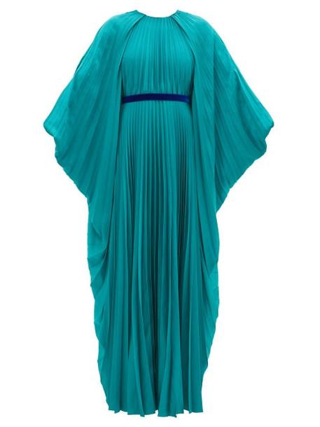 Roksanda - Inara Cape Sleeve Pleated Satin Dress - Womens - Blue