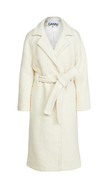 GANNI Boucle Wool Coat in white