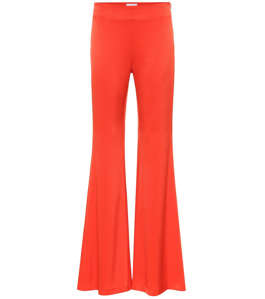 Galvan High-rise flared satin-crêpe pants in red
