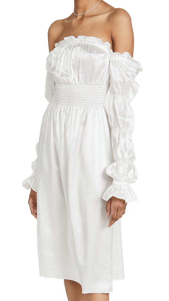 Sleeper Michelin Silk Dress in white