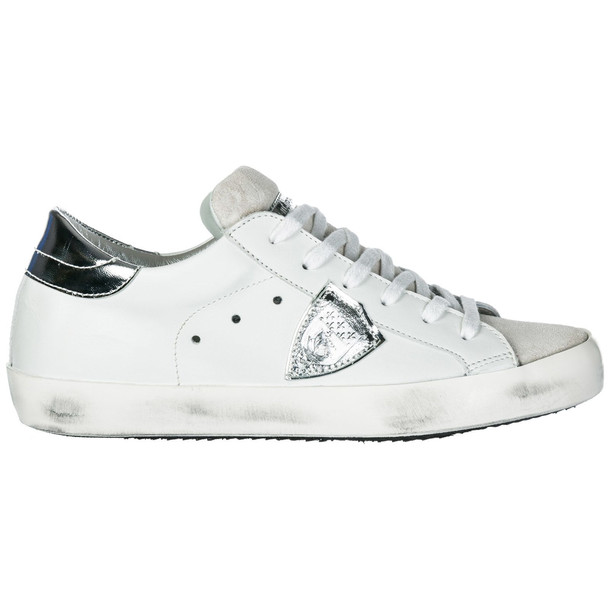 Philippe Model Shoes Leather Trainers Sneakers Paris in silver