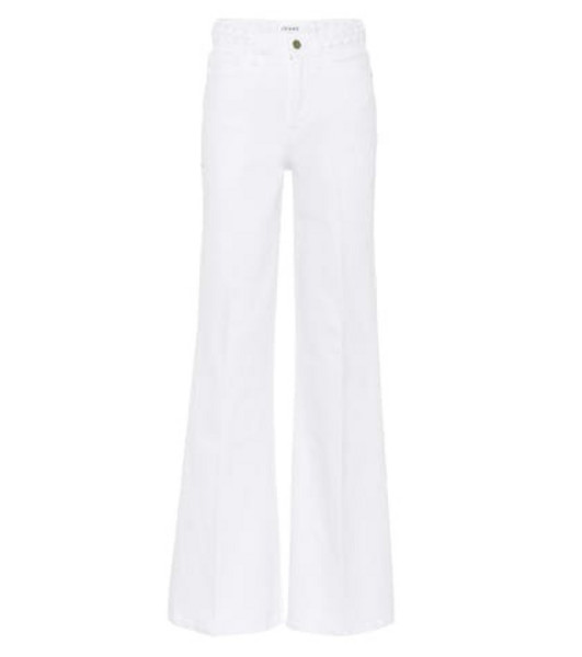 Frame Le Palazzo high-rise wide-leg jeans in white