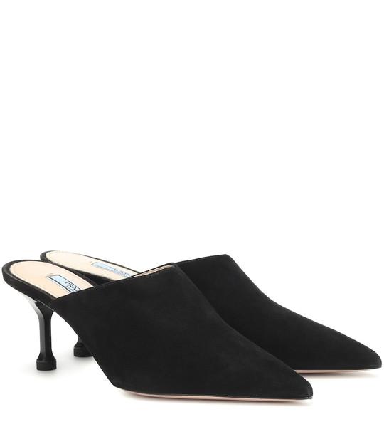 Prada Suede mules in black