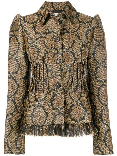 Nina Ricci reptile pattern fitted jacket in neutrals