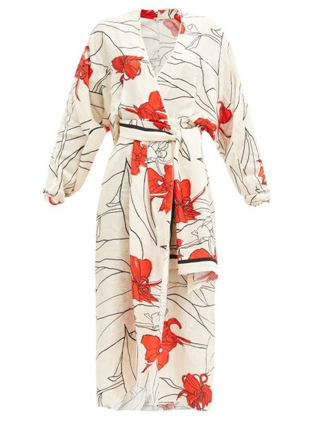Johanna Ortiz - Romantic Message Floral-print Crepe Wrap Dress - Womens - White Print