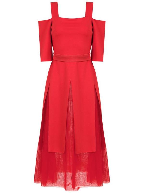 Gloria Coelho off shoulder tulle dress in red