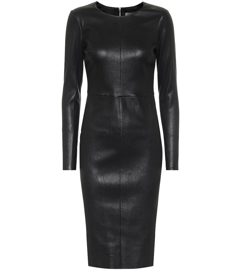 Stouls Pao leather midi dress in black