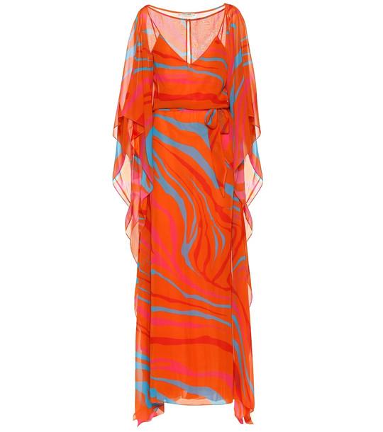 Roberto Cavalli Printed silk maxi dress in red