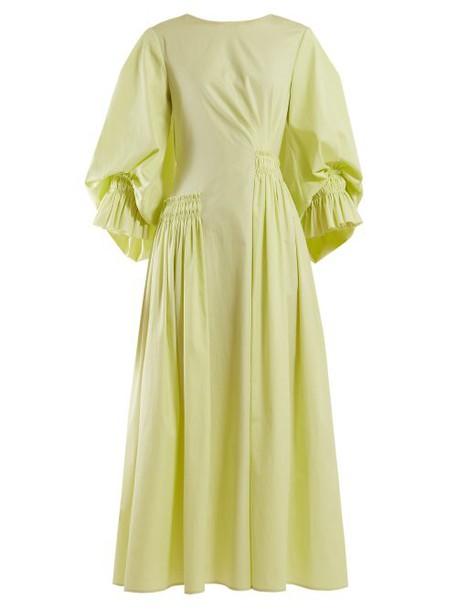 Roksanda - Liere Asymmetric Cotton Poplin Maxi Dress - Womens - Yellow