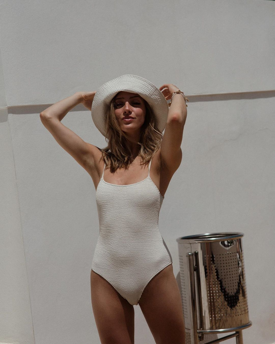 swimwear one piece swimsuit white swimwear summer sun hat