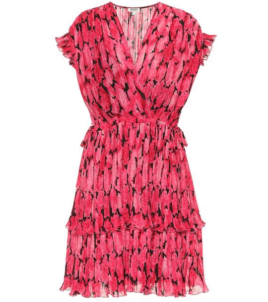 Kenzo Floral pleated chiffon minidress in pink
