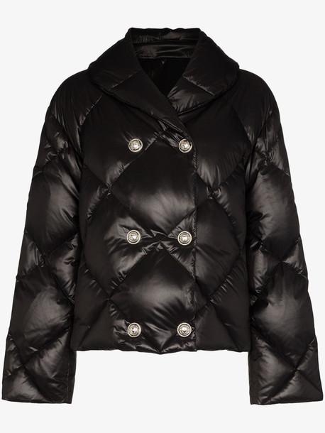 Balmain shiny shawl collar puffer jacket in black