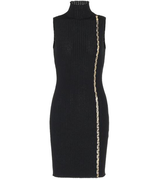 Versace Embellished stretch-wool dress in black