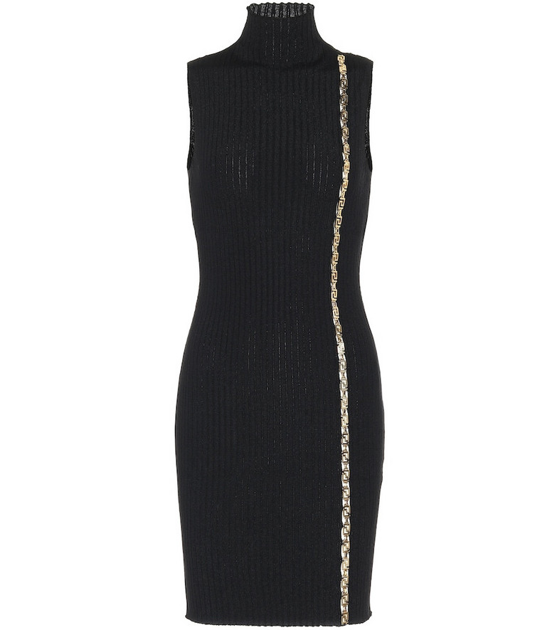 Versace Embellished stretch-wool dress in black