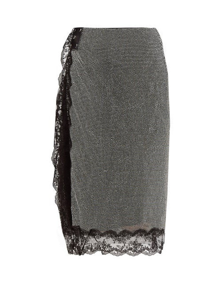 Christopher Kane - Crystal Mesh Lace Trimmed Pencil Skirt - Womens - Black