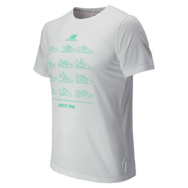 New Balance 5168 Men's Sneaker Tee - White, Green Oasis (EMET5168WT)