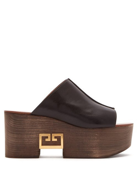 Givenchy - Logo Plaque Platform Leather Mules - Womens - Black