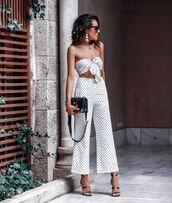 pants,white pants,polka dots,wide-leg pants,high waisted pants,black sandals,black bag,white top,crop tops