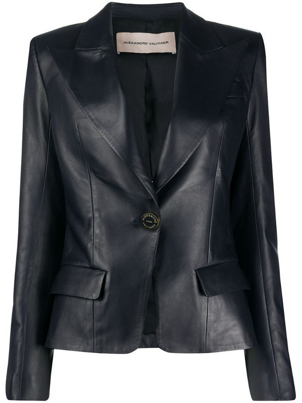 Alexandre Vauthier fitted leather blazer in blue