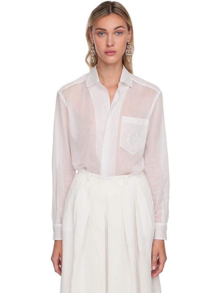 RALPH LAUREN COLLECTION Cotton Sheer Shirt in white