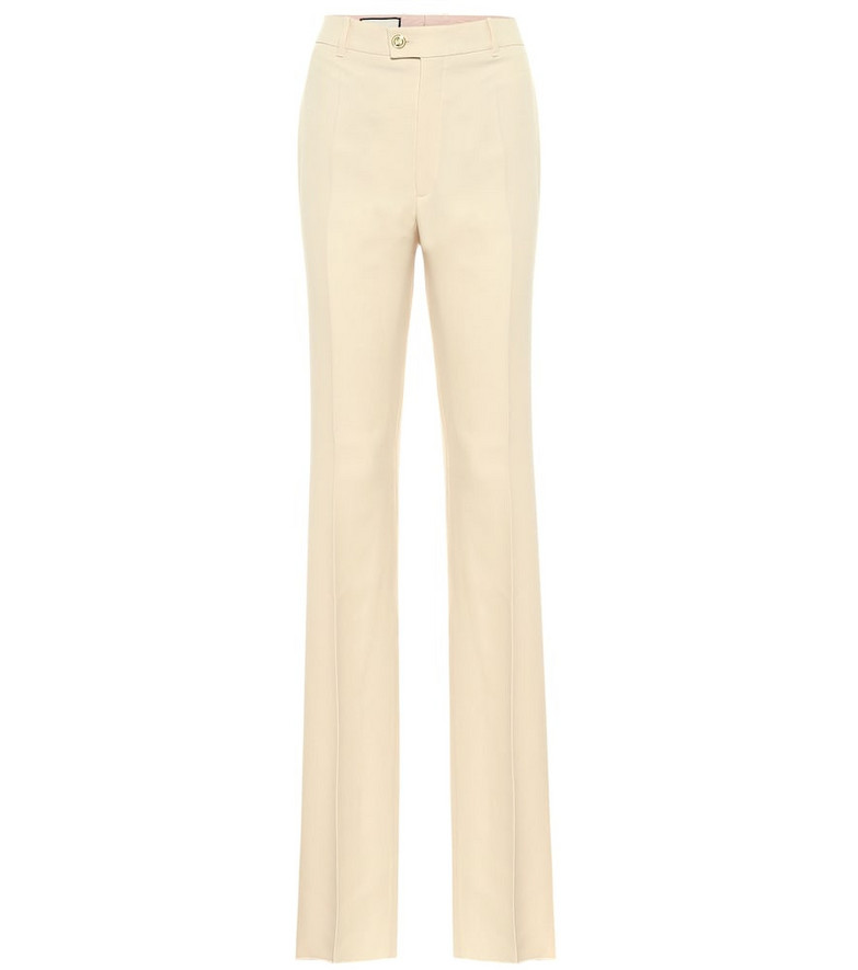 Gucci Silk and wool cady straight pants in beige