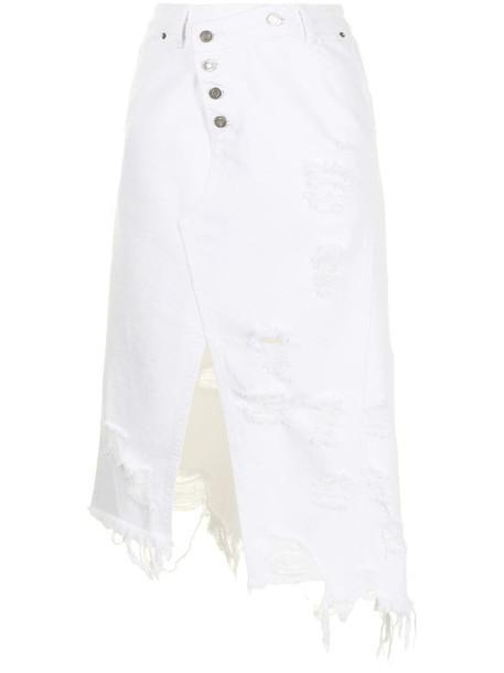 SJYP distressed denim midi skirt in white