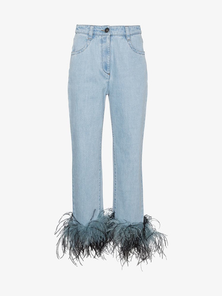 Prada feather hem jeans in blue