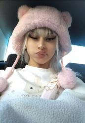 hat,pink,cats,bucket hat,fluffy,kawaii,astrogyans