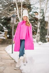 a lonestar state of southern,blogger,sweater,shirt,hat,shoes,jeans,scarf,duck boots,winter boots,winter outfits,pink sweater,beanie