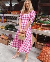 dress,red dress,plaid dress,midi dress,bag,sundress,sandals,summer dress