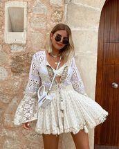 dress,mini dress,white dress,lace dress,white bag,bikini top